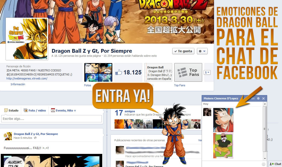 Emoticones Dragon Ball para Facebook