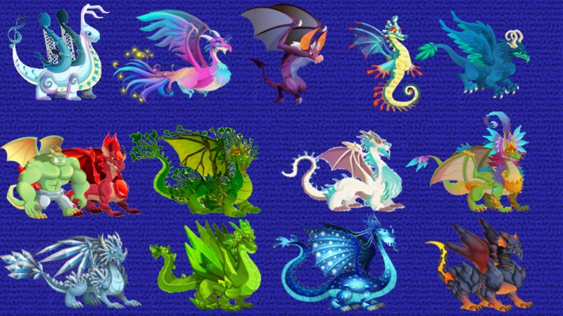 Combinaciones para los dragones especiales - Dragon City