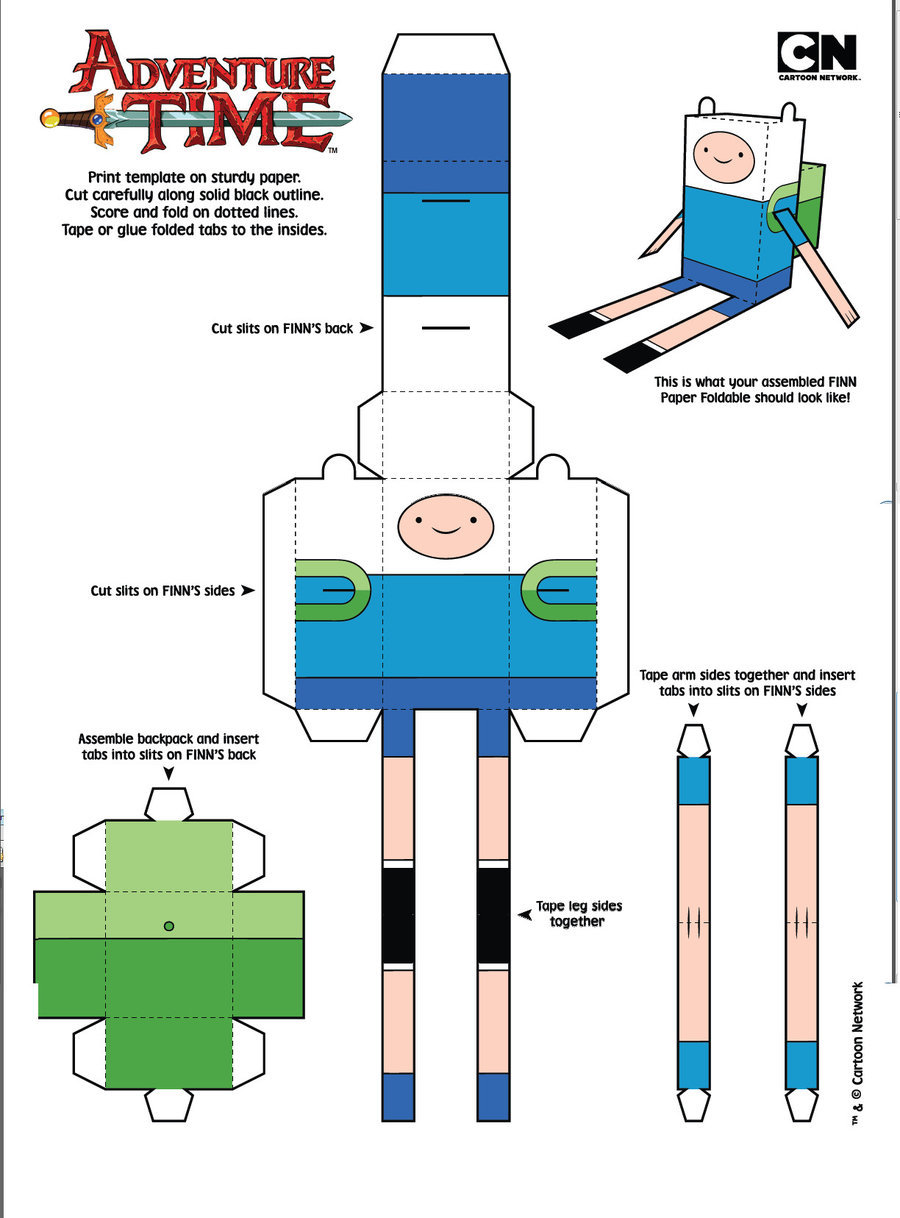 Adventure Time Papercraft Template