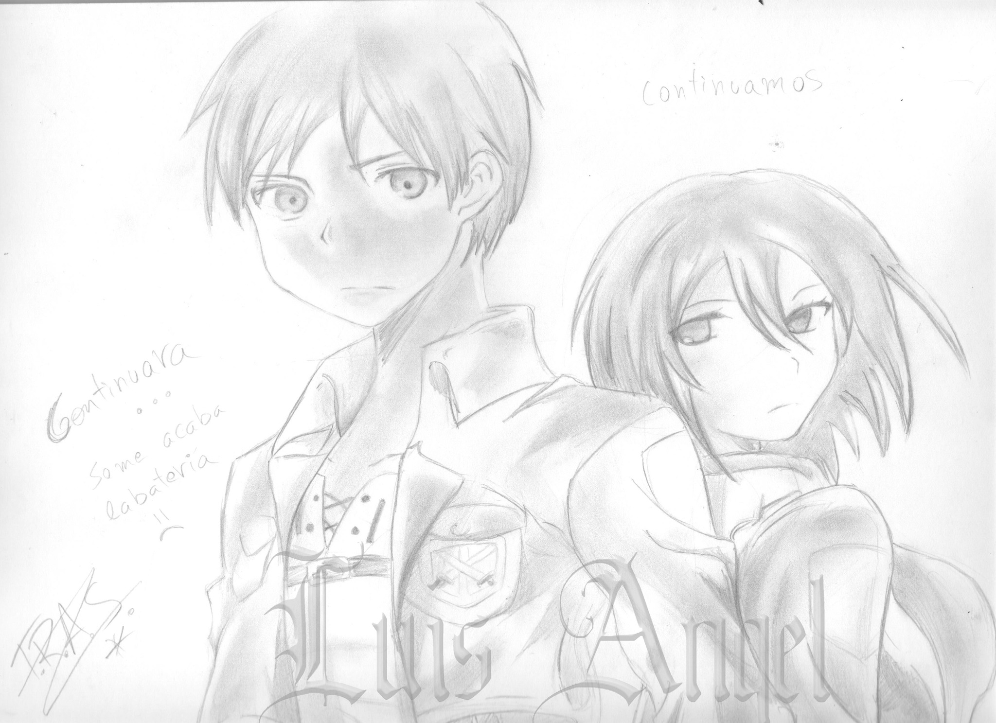 Eren Y Mikasa [Speed Drawing + Escaneado]
